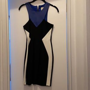 Black white blue leather dress high neck dress
